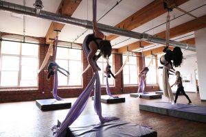aerial fitness studio circus yoga manchester nh new hampshire kama fitness karlene aerial yoga girl