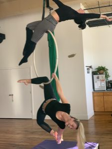 lyra trapeze hoop acro aerial yoga fitness hammock sling silks circus class workshop nh manchester new hampshire kama fitness 3