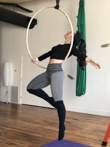 lyra trapeze hoop acro aerial yoga fitness hammock sling silks circus class workshop nh manchester new hampshire kama fitness 4
